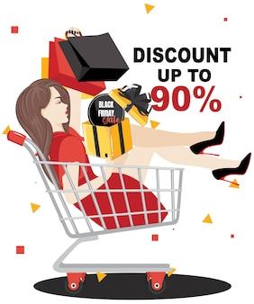 Koncepcja programu sprzedaży rabatu czarny piątek, obsługa klienta. szczęśliwa kobieta zrobić zakupy na sprzedaż za pomocą rabatu.