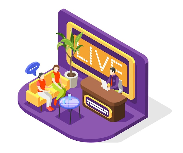 Koncepcja programu telewizyjnego quiz z izometryczną ilustracją transmisji