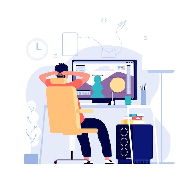 Koncepcja projektanta graficznego. mężczyzna przy komputerze pracuje w domowym biurze z aplikacją do edycji grafiki na monitorze i projektuje.