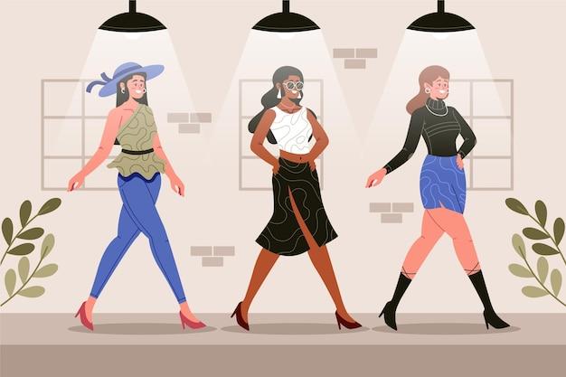 Koncepcja projektanta mody rysowane ręcznie