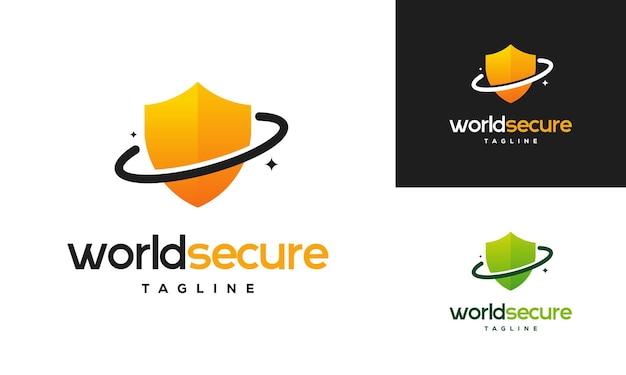 Koncepcja projektów logo world secure, projekty logo shield