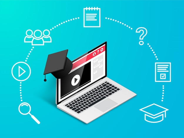 Koncepcja projektowania edukacji online. nauka online, seminarium internetowe, edukacja na odległość, baner szkoleń biznesowych. izometryczny laptop z czapką ukończenia szkoły z ikonami na niebieskim tle gradientu