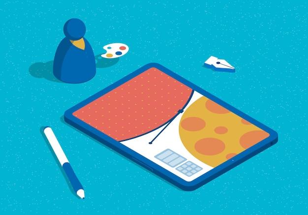 Koncepcja projektowania graficznego ilustracji izometrycznej z tabletem i projektantem abstrakcyjnych