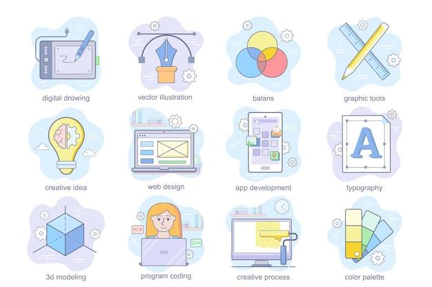 Koncepcja projektowania i rozwoju płaskie ikony zestaw zestaw cyfrowych narzędzi do rysowania kreatywny pomysł typogra...