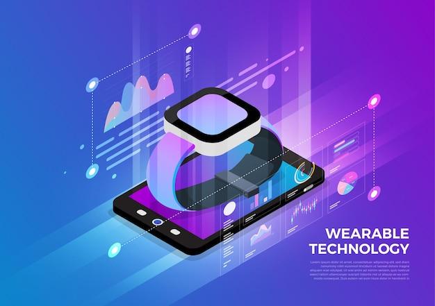 Koncepcja projektowania ilustracji izometrycznych rozwiązanie technologii mobilnej na górze z urządzeniem do noszenia