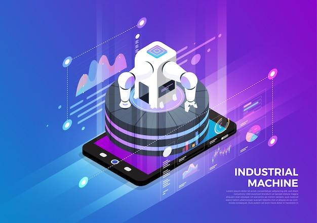 Koncepcja projektowania ilustracji izometrycznych rozwiązanie technologii mobilnej na górze z zautomatyzowaną maszyną przemysłową