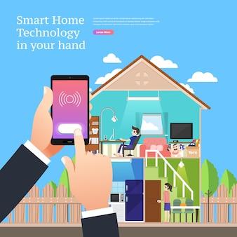 Koncepcja projektowania ilustracji izometrycznych rozwiązanie technologii mobilnej na szczycie z inteligentnym domem