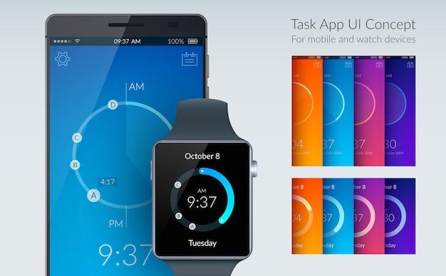Koncepcja projektowania interfejsu użytkownika aplikacji zadań dla urządzeń mobilnych i zegarków na lekkiej płaskiej ilustracji