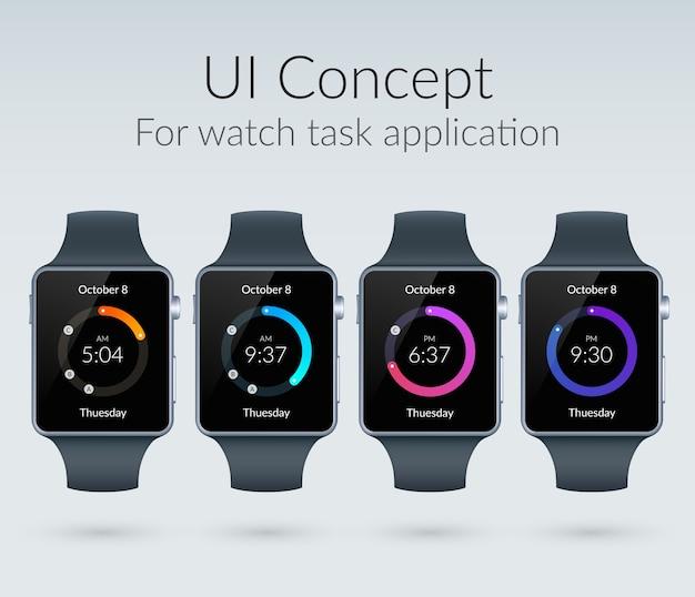 Koncepcja projektowania interfejsu użytkownika dla aplikacji zadań zegarka z płaską ilustracją kolorowych elementów