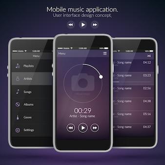 Koncepcja projektowania interfejsu użytkownika mobilnego z ikonami i elementami sieci web dla aplikacji muzycznej na białym tle ilustracji wektorowych