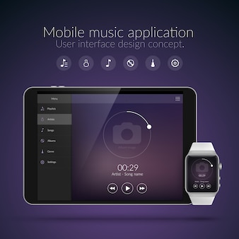 Koncepcja projektowania interfejsu użytkownika z elementami sieci web aplikacji muzycznej do zegarków i tabletów na białym tle ilustracji wektorowych