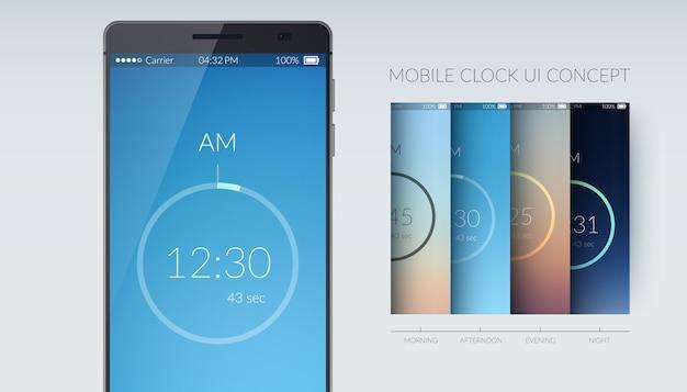 Koncepcja projektowania interfejsu użytkownika zegara mobilnego na lekkiej płaskiej ilustracji