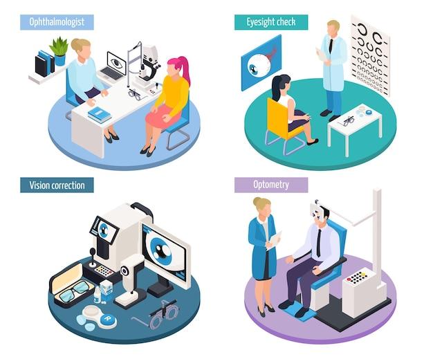 Koncepcja projektowania izometrycznego 2x2 okulistyki ze scenami wizyt lekarskich i ilustracją profesjonalnych narzędzi do sprawdzania wzroku