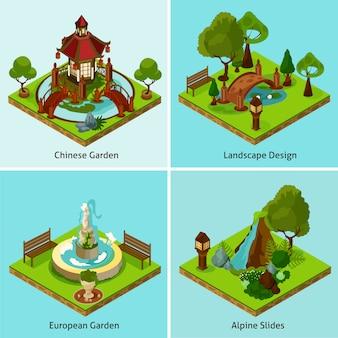 Koncepcja projektowania izometryczny krajobraz