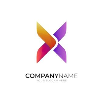 Koncepcja projektowania kreatywnego logo litery x i strzałki