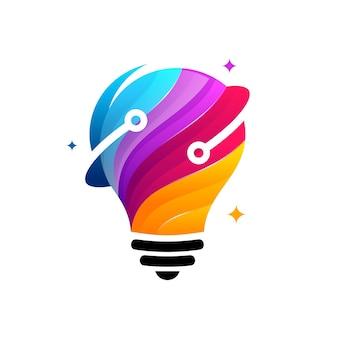 Koncepcja projektowania logo 3d modern tech bulb, szablon logo pixel technology bulb idea
