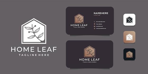 Koncepcja projektowania logo domu liść negatywne piękno nieruchomości.