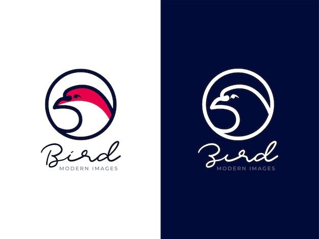 Koncepcja projektowania logo głowa ptaka mono-line