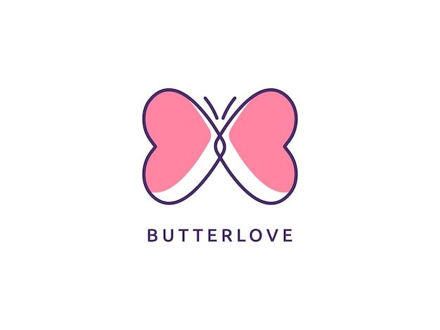 Koncepcja projektowania logo motyla i miłości