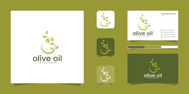 Koncepcja projektowania logo oliwy z oliwek lub kropli. projekt logo i wizytówki