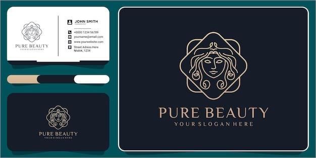 Koncepcja projektowania logo salonu piękności kręcone włosy z wizytówką