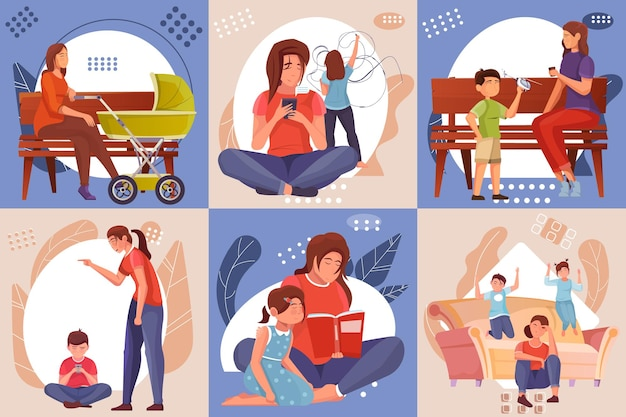 Koncepcja projektowania macierzyństwa zestaw sześciu kolorowych ilustracji z matkami spędzającymi czas razem z ich małymi dziećmi płaską ilustracją