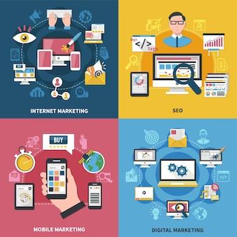 Koncepcja projektowania marketingu internetowego z aplikacjami mobilnymi do zakupów online, seo, reklamy cyfrowej na białym tle ilustracji wektorowych