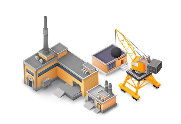Koncepcja projektowania obiektów fabrycznych na białym tle z konstrukcjami przemysłowymi, żółtymi i szarymi budynkami, koncepcją maszyn i różnych narzędzi