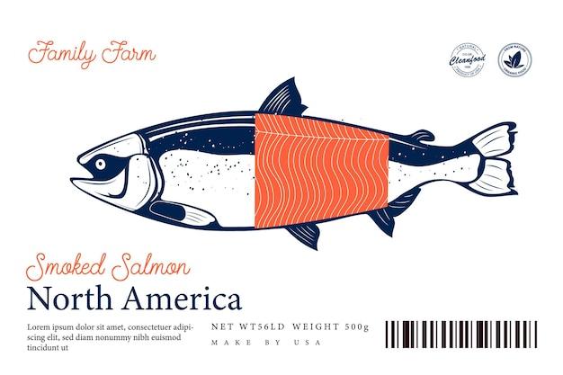 Koncepcja projektowania opakowania wędzonego łososia wektor. etykieta owoców morza w nowoczesnym stylu. ilustracja ryby łososia