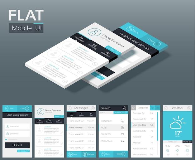 Koncepcja projektowania płaskiego interfejsu użytkownika z różnymi przyciskami ekranów i elementami sieci web dla menu nawigacji mobilnej