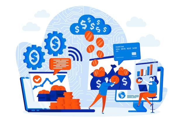 Koncepcja projektowania sieci web wirtualnych finansów z ilustracji postaci ludzi