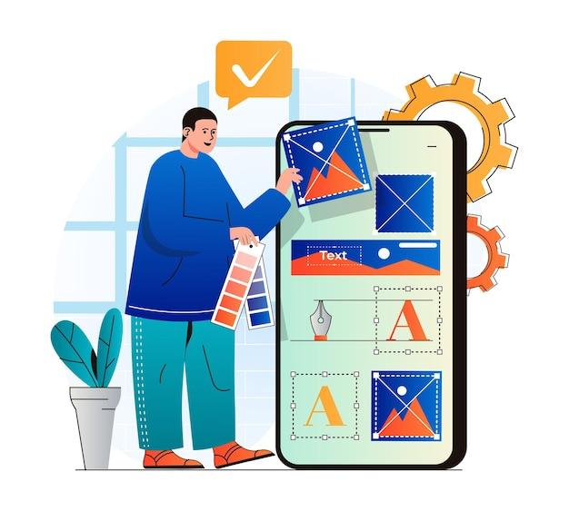 Koncepcja projektowania stron internetowych w nowoczesnej płaskiej konstrukcji projektant mężczyzna tworzy i optymalizuje elementy graficzne