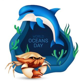 Koncepcja projektu ekosystemu światowego dnia oceanów. ilustracja z realistycznym delfinem, krabem, koralem i wodorostami na niebieskim tle z falami origami na białym tle