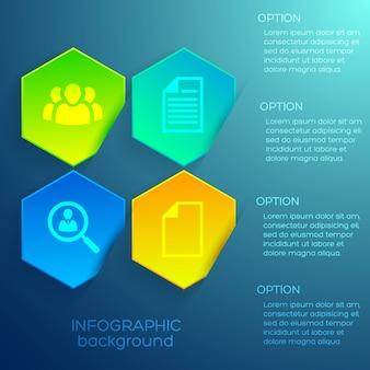 Koncepcja projektu infografiki internetowej z ikonami tekstowymi i czterema kolorowymi sześciokątami