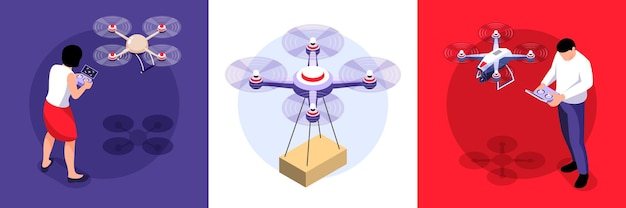 Koncepcja projektu izometrycznego drona z zestawem kwadratowych kompozycji ze zdalnymi quadkopterami zdalnie sterowanymi przez ilustrację ludzi