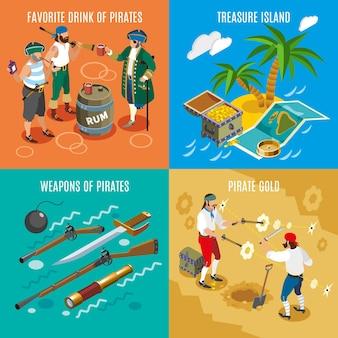 Koncepcja projektu izometrycznego piratów z ulubionym rumem do picia, wyspą skarbów, bronią, walką o złoto na białym tle ilustracji