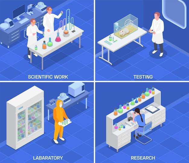Koncepcja projektu izometrycznego produkcji farmaceutycznej z kompozycjami kwadratowymi wewnątrz laboratorium badawczego i sprzęt laboratoryjny