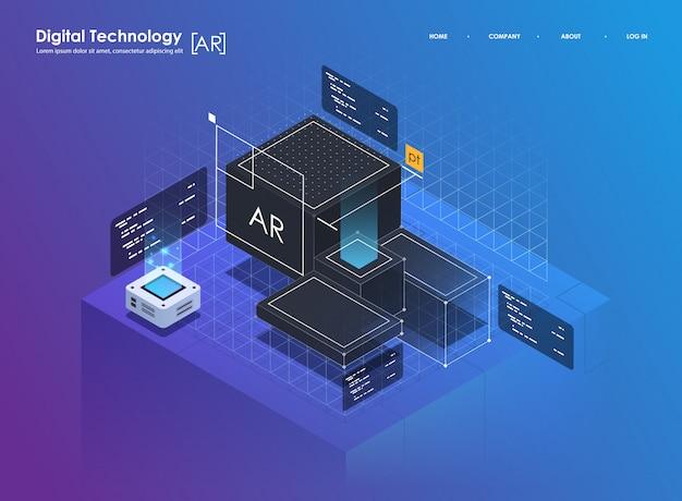 Koncepcja projektu izometrycznego rzeczywistość wirtualna i rzeczywistość rozszerzona. rozwój ar i vr. technologia mediów cyfrowych dla strony internetowej