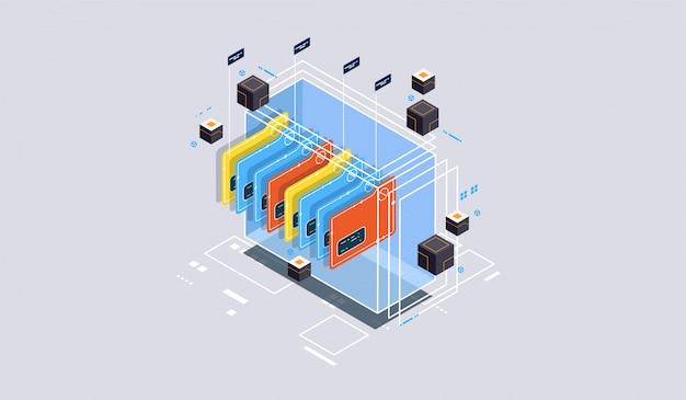Koncepcja projektu izometrycznego rzeczywistość wirtualna i rzeczywistość rozszerzona. tworzenie i programowanie oprogramowania. obliczenia dużego centrum danych, komputerowa technologia izometryczna kwantowa