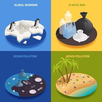 Koncepcja projektu izometrycznego zanieczyszczenia oceanu 2x2 z tekstem i rundą reprezentującą różne rodzaje ilustracji zanieczyszczeń