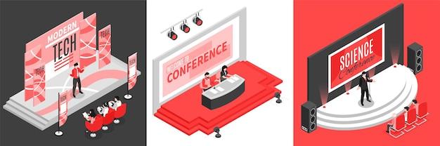 Koncepcja projektu izometrycznej sali konferencyjnej z kwadratową ilustracją