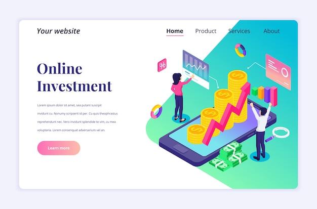 Koncepcja projektu izometrycznej strony docelowej inwestycji online. ludzie analizują wykresy i wykresy finansowe, dochody z zysku za pomocą telefonu komórkowego