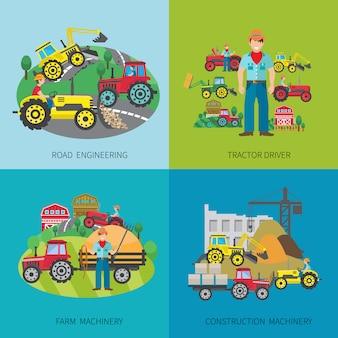 Koncepcja projektu kierowcy ciągnika zestaw z inżynierii drogowej maszyn rolniczych i budowlanych płaskie ikony na białym tle ilustracji wektorowych