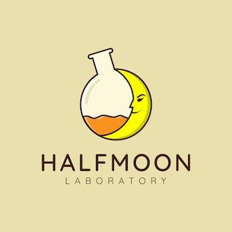 Koncepcja projektu logo tuby laboratoryjnej i księżyca dla firmy społeczności badaczy i edukacji