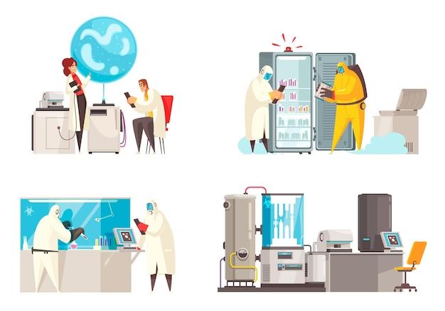 Koncepcja projektu mikrobiologicznego z czterema kompozycjami postaci ludzkich w kombinezonach biohazard w pobliżu ilustracji jednostek sprzętu laboratoryjnego