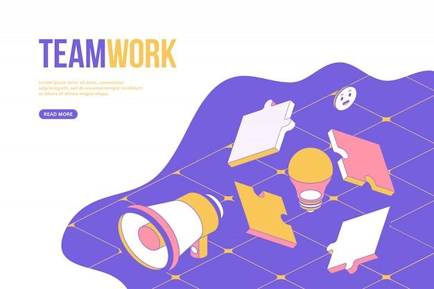 Koncepcja projektu sieci web pracy zespołowej. szablon kreatywnego projektowania z obiektami izometrycznymi.