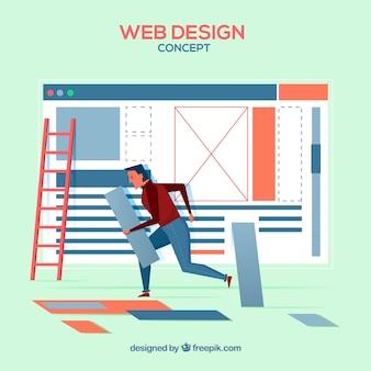 Koncepcja projektu sieci web z płaska konstrukcja