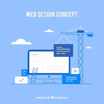 Koncepcja projektu sieci web z płaskim stylu