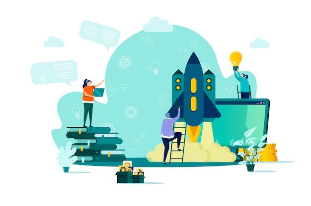 Koncepcja projektu start-upowego w stylu z postaciami ludzi w sytuacji