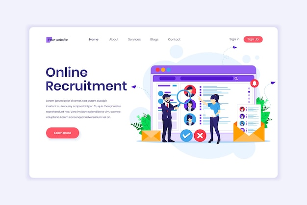Koncepcja projektu strony docelowej rekrutacji online ludzie szukają ilustracji nowego pracownika